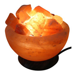 Home Concept - Himalayan Ionic Natural Salt Lamp Fire Bowl - Enjoy the benefits of naturally ionizing salt lamps with this beautiful and colorful salt lamp, designed as a bowl filled with Himalayan salt pieces in multiple colors. The salt crystals featured in this lamp emit negative ions as humid moisture evaporates through the himalayan salt lamp. This lamp organically cleanses and purifies your environment providing benefits to your health and helping to prevent disease. This salt lamp is attractive to the eye but will also soothe your spirit, giving you restored energy a feeling of relaxation. These lamps have been used as a natural beneficial treatment for migranes, resparitory diseases, allergies, asthma, rheumatism and more. It cleanses the air by causing small particles to clump together and fall toward the floor, taking them away from your breathing and allowing you to enjoy fresh air. Dust, pollen, smoke, mold, odors and danger are all effectively trasported from the air by negative ions.