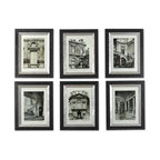 Uttermost - Uttermost Paris Scene Framed Art Set of 6 33430 - These monotone prints are accented by wooden frames with a black finish. The frame's inner lip has a glazed champagne finish.