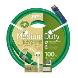 Apex Medium Duty Garden Hose, 5/8X100' - For general purpose lawn and garden use. Radial braid reinforcement for durability. Scuff resistant outer layer. Kink Guard helps prevent kinking at faucet connection. E-Z Tite Brass couplings for secure connections.