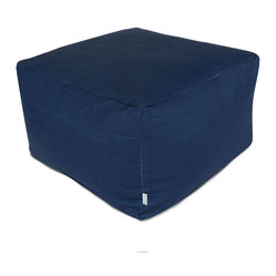 Outdoor Navy Blue Solid Large Ottoman