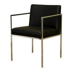 Wholesale Interiors - Baxton Studio Contemporary Accent Chair in Black with Chrome Frame - Sleek and modern, this no-nonsense Baxton Studio accent chair is a classic choice for home or office. Contemporary square-stock steel frame features a brilliant chrome finish that's the perfect complement to the bonded black leather upholstery. Thickly padded seat and back allow you or your guest to sit comfortably and in style as you work or socialize. You can't go wrong with this winning design. With elements of both simplicity and timelessness, steel and leather come together to create this contemporary chair. The thin yet sturdy steel frame is covered in chrome, but you and your guests as well as colleagues and clients will relax with comfortably on the foam-padded and bonded leather-upholstered seat. The feet include small plastic stoppers to assist in the prevention of scratching on your floors.