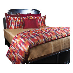 Alfred Duvet Set, King - For the minimalist who wants to keep it simple but have a little fun this set is perfect. The creative pattern gives rich warm colors and the Brass Matelasse' blanket gives a finished clean look.