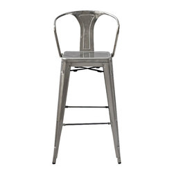 """Crosley Furniture - Amelia Metal Cafe Barstool with Back in Galva - Includes (2) Stools. Sturdy Steel Construction. Easy To Assemble. UV Resistant. Stackable. Galvanized finish is hand-prepared, and will rust over time for an authentic vintage appearance.. 20 in. W x 23 in. D x 44 in. HOriginally made famous in the quaint bistros of France, these midcentury replicas of original caf̩ seating will offer a dose of nostalgia combined with careful consideration for your wallet.  This inspired revival evokes a sense of a true vintage find. The Amelia collection is available in a variety of colors, including our unique galvanized finish. This raw steel look is hand prepared to enhance the inherent tones of the metal. Designed to acquire an aged patina, the galvanized finish will naturally rust over time, giving it a unique industrial """"relic"""" look."""