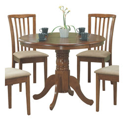 Monarch Specialties - Monarch Specialties I 1450 Oak 40 Inch Round Pedestal Table - Create a casual fashion statement in your dining area with this round pedestal dining table. This oak table features a waterfall profile and is anchored down by a sturdy turned pedestal base with scroll detailing. Table Base (1), Table Top (1)
