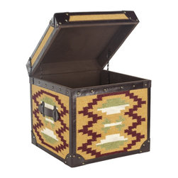 Safavieh - Safavieh Stagecoach Box X-A1056SCA - Images of America's early cross-country travelers are reawakened in this steamer trunk table covered with a stunning kilim carpet woven of jute to create a Navajo blanket motif. Stagecoach is designed for use as an end table, or in pairs as a convenient coffee table. Dark tobacco-toned leather accents, brass rivets and reinforced corners add Southwestern flair.