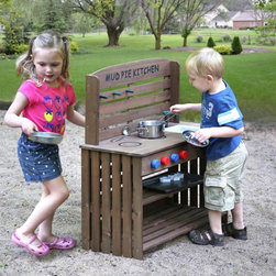 Badger Basket - Badger Basket Outdoor Chef Mud Pie Kitchen with Cooking Accessories Multicolor - - Shop for Cooking and Housekeeping from Hayneedle.com! Slime snails and (pretend) puppy dog tails ... these might be the first few ingredients in the next dish your little one cooks up with the Badger Basket Outdoor Chef Mud Pie Kitchen with Cooking Accessories. With two painted burners and a removable plastic sink they'll be whipping up mud pies dirt cakes rock cookies and more. This kitchen even include a 13-piece accessory set to help them with their gourmet adventures. Four stove knobs really turn and click and there are 3 pegs for hanging utensils. The lower space features a shelf so it works as storage or as the pretend oven. All finishes are non-toxic. Some assembly is required - illustrated instructions included. No part of this toy is to be used for preparation of real food. No further treatment of the wood is required before use. Recommended for children ages 3 and up. Accessory Set Includes:Cookie sheet6 Cookie cuttersPot with lidPanLadleSpatulaColanderAdditional FeaturesOverall: 28L x 13.5W x 31H in.Countertop height: 18 in.Backsplash height: 13 in.Sink: 4.25L x 7.5W x 3H in.Removable oven shelf: 26L x 10W in.Bottom shelf: 26L x 12.25W in.Height between bottom shelf and oven shelf: 5.5 in.Height between oven shelf and stove knob panel: 6.5 in.Assembled weight: 15.7 lbs. WARNING: CHOKING HAZARD - Small parts. Not for children under 3 yrs.Badger Basket CompanyFor over 65 years Badger Basket Company has been a premier manufacturer of baskets bassinets bassinet bedding changing tables doll furniture hampers toy boxes and more for infants babies and children. Badger Basket Company creates beautiful and comfortable products that are continually updated and refreshed bringing you exciting new styles and fashions that complement the nostalgic and traditional products in the Badger Basket line.