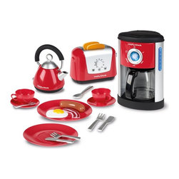 Casdon - Casdon Kids Play Morphy Richards Kitchen Set Multicolor - 647 - Shop for Cooking and Housekeeping from Hayneedle.com! Kids love to imitate grown-ups and the Casdon Kids Play Morphy Richards Kitchen Set has everything they need for a great pretend breakfast! This stylish set is based on Morphy Richards designs so it looks great. Kids can fill the coffee maker with water and watch it drip down into the coffee pot which teaches them about cause and effect. Setting the table with the included dishes and pretending to eat the included play food help kids develop problem solving skills and motor skills. And the crown jewel of the set: a toaster with working pop-up action and two slices of play toast. Your child will delight when the toast pops up never suspecting that she's developing her understanding of cause and effect and her hand-eye coordination.Pretending to prepare serve and eat breakfast teaches kids valuable social skills as they imagine themselves as cooks servers and diners. While you're making breakfast in the kitchen let your kids develop their skills with the Casdon Kids Play Morphy Richards Kitchen Set.About CASDONCASDON has 65 years of toy-making experience working in its favor. A toolmaker by the name of Tom Cassidy left his day job in 1946 to produce small plastic articles such as skating boots for children and teenagers. Tom's brother Joe Cassidy joined the company in 1950 and operating under the name of the Cassidy Brothers they opened their first factory in 1956. Jump forward a few decades and you have the CASDON of today a company committed to producing only the best multi-featured toy replicas.