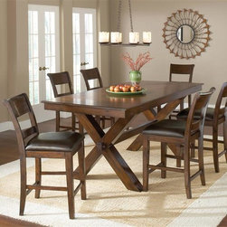 Hillsdale - 7-Piece Counter Height Dining Set - Includes Table and 6 Stools. Trestle style dining table. Ladder back style chairs. Table seats 6-10. Dark cherry finish. Table: 36 in. H x 84 in. L x 40 in. W (with 2 - 12'' leaves - 108 in. L). Stools: 41 in. H x 24.5 in. W x 19.75 in. D