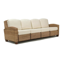 HomeStyles - 4-Seater Sofa in Honey Finish (Honey) - Finish: HoneyEcru upholstered cushions to easily coordinate with many decorating schemes. Made from mahogany hardwood and natural woven banana leaves. Made in Indonesia. Assembly required. 104 in. L x 32 in. W x 36 in. HCleaning instructions for fabric - Use any commercial upholstery cleaner.