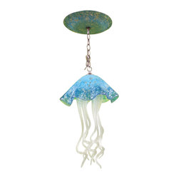 "Primo Glass - Hand Blown Glass Jellyfish Light - Turquoise - Chandelier - Lighting - Art Glass - Beautiful one of a kind blown glass jellyfish pendant light handcrafted in the USA by Primo Glass. This is a custom one of a kind "" to be built "" jellyfish light that will have slight differences from the jellyfish light shown in the listing photos, and has a lead time of aprox 3 weeks. The lighting source consists of 1 standard medium base ( 100 watt max ) light socket in the center of the Jellyfish head. It will be shipped with a 60 watt dimmable LED light bulb that will last for 20k hours or longer. It also comes complete with a custom made matching glass ceiling medallion. The glass jellyfish itself measures aprox 12 inches wide x 19 inches tall, and also includes an additional 36 inches of adjustable cord. Primo Glass fixtures are high quality collectible works of functional art, signed by the artists, and come with a certificate of authenticity."