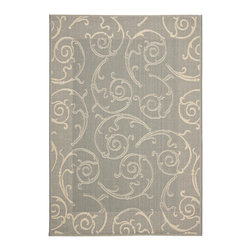 """Safavieh - Courtyard Gray/Brown Area Rug CY2665-3606 - 5'3"""" x 7'7"""" - Safavieh takes classic beauty outside of the home with the launch of their Courtyard Collection. Made in Belgium with enhanced polypropylene for extra durability, these rugs are suitable for anywhere inside or outside of the house. To achieve more intricate and elaborate details in the designs, Safavieh used a specially-developed sisal weave."""