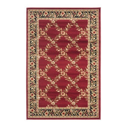 Safavieh - Safavieh Lyndhurst Trellis Gardens Red/ Black Rug (4' x 6') - This red floor rug will beautifully accent your design scheme,and youll love the way the dense pile feels on your feet. With a red background and accent colors of blue,black,green,and beige,the rug will be a striking addition to your room.