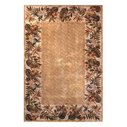 KAS - Sparta Bamboo Basketweave 3143 Beige Rug by Kas - 3 ft 6 in x 5 ft 6 in - The use of floral patterns and color stylings is simply amazing in the Sparta Collection from Kas. Hand tufted of high-density wool, each rug potrays an unqiue floral arrangement that is both elegant and fashion forward. The use of different colors is simply wonderful with each peice more eye-popping than the next. If it's a floral themed rug you are in the market for, look no further than the Sparta Collection from Kas.