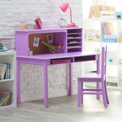 Guidecraft - Guidecraft Media Desk & Chair Set - Lavendar - ID746 - Shop for Childrens Desks from Hayneedle.com! Every creative idea starts somewhere - and we're betting quite a few will start at the Guidecraft Media Desk & Chair Set - Lavendar. Easy to clean and conveniently sized for any kid's room this set is crafted with solid wood in a soft lavendar laminate finish. On top the included hutch has five cubbies for books art paper notebooks and more and an adjacent corkboard provides a place to pin notes and pictures. Recommended for kids age 3 to 10.DimensionsDesk: 44W x 24D x 26H inchesChair: 15.5W x 15.5D x 32H inchesSeat height: 15.5 inchesAbout GuidecraftGuidecraft was founded in 1964 in a small woodshop producing 10 items. Today Guidecraft's line includes over 160 educational toys and furnishings. The company's size has changed but their mission remains the same; stay true to the tradition of smart beautifully crafted wood products which allow children's minds and imaginations room to truly wonder and grow.Guidecraft plans to continue far into the future with what they do best while always giving their loyal customers what they have come to expect: expert quality excellent service and an ever-growing collection of creativity-inspiring products for children.