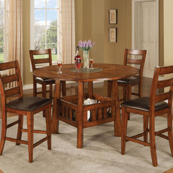 Coaster - Lavista 5 Pcs Counter Height Set - Square/round counter height table features built in Lazy Susan with four drop leafs to convert the table from 42 square to 60 round.