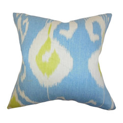 """The Pillow Collection - Cleon Ikat Pillow Blue 20"""" x 20"""" - Create a cheery and vibrant atmosphere in your home by decorating this plush accent pillow. This throw pillow features a unique ikat detail in shades of blue, green and white. A gorgeous addition to your living room or bedroom, this toss pillow lends comfort like no other. Made of 100% durable and soft linen material. Hidden zipper closure for easy cover removal.  Knife edge finish on all four sides.  Reversible pillow with the same fabric on the back side.  Spot cleaning suggested."""