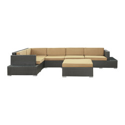Harbor 6-Piece Outdoor Patio Sectional Set - Immerse yourself in the depth of new surroundings as you become acquainted with the art of making socially innovative gatherings. Catch the perfect angle for boundless views of reality with this easily reconfigured outdoor set. Expand horizons and open new vistas as hidden opportunities rise to the surface.