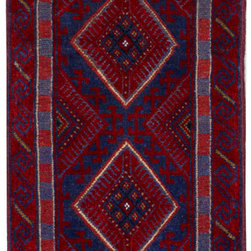 """ALRUG - Handmade Blue Oriental Tribal Baluchi Runner 2' 1"""" x 8' 10"""" (ft) - This Afghan Baluchi design rug is hand-knotted with Wool on Wool."""