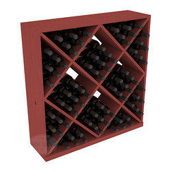 Solid Diamond Wine Storage Cube in Pine with Cherry Stain - Elegant diamond bin style bottle openings make for simple loading of your favorite wines. This solid wooden wine cube is a perfect alternative to column-style racking kits. Double your storage capacity with back-to-back units without requiring more access area. We build this rack to our industry leading standards and your satisfaction is guaranteed.