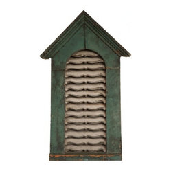 EcoFirstArt - Architectural Wood Vent - A wholly charming piece of wall art to add a bit of architectural flair to your decor. The vent's frame is constructed of sustainable wood with scalloped slats and crown molding on the peak. Bring a bit of old-world character to the present day with this exquisite fixture, offering you a house within your home.