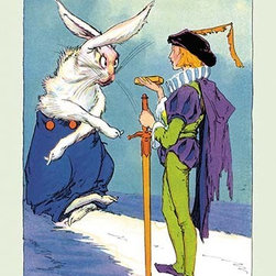 """Buyenlarge.com, Inc. - Wag and the Prince- Fine Art Giclee Print 16"""" x 24"""" - John Rea Neill (1877 - 1943) was a magazine and children's book illustrator primarily known for illustrating more than forty stories set in the Land of Oz, including L. Frank Baum's, Ruth Plumly Thompson's, and three of his own. His pen-and-ink drawings have become identified almost exclusively with the Oz series."""