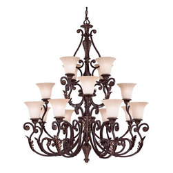 Cordoba 16 Light Chandelier - Oak Leaf accents and an Antique Copper Finish - Classy and Sophisticated; Tinted Scavo Glass. Weight: 112. 00 lbsFinish: Antique CopperBulb Wattage: 60Glass: Tinted ScavoNumber of Bulbs: 16Type of Bulb: ENumber of Arms: 16Bulbs Included: NoSafety Rating: UL, CULVoltage: 120