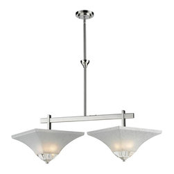 Four Light White Swirl Glass Polished Nickel Island Light - This unique 2 light island fixture with its clean lines and bold crystal pieces will be sure to stand out over an island or dining room table.  The sectional rods makes it easy to adjust to the height needed in any space.