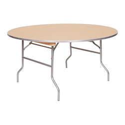PRE Sales - Round Table w Metal Edge (60 in.) - Choose Size: 60 in.7 ply ACX Birch plywood top. Durable aluminum edge. Birch plywood top. Automatic locking legs. Tested lead-free. 3 years limited warranty. Polyurethane finish on top and bottom. 60 in. Dia. (75 lbs.). 75 in. Dia. (96 lbs.)