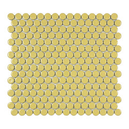 Somertile - SomerTile Penny 3/4-in Vintage Yellow Porcelain Mosaic Tile (Pack of 10) 12.25x1 - Change the look of any room with this pretty porcelain mosaic tile in a lovely shade of yellow. Ideal for use on a floor, wall or backsplash the tile features a glossy finish and easily adds vintage charm and appeal to your home or office.
