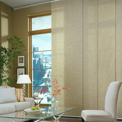 Panel Track Blinds | Contemporary Living Room | Brown & White | Glass Coffee Tab - Enjoy your beautiful views.