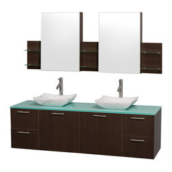 Wyndham Collection - Modern Wall Mount Vanity Set - Includes mirror cabinet, drain assemblies and P-traps for easy assembly. Faucet not included. Modern clean lines. Two functional doors. Four functional drawers. Plenty of storage space. Eight stage preparation. Veneering and finishing process. Highly water-resistant low V.O.C. sealed finish. Unique and striking contemporary design. Modern wall mount design. Deep doweled drawers. Fully-extending soft-close drawer slides. Soft close door hinges. Single-hole faucet mount. Green glass top. Carrera marble sinks. Engineered for durability, and to prevent warping and last a lifetime. Made from highest quality grade E1 MDF. Metal exterior hardware with brushed chrome finish. Espresso finish. Minimal assembly required. Cabinet: 71.5 in. W x 6 in. D x 30 in. H. Vanity: 72 in. W x 22.25 in. D x 21.25 in. H. Care Instructions. Assembly Instructions - Sink. Cabinet Installation GuideTruly elegant design aesthetic meet affordability in the Wyndham Collection Amare Vanity. The attention to detail on this elegant contemporary vanity is unrivalled.