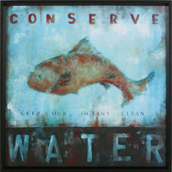 Conserve Water by Wani Pasion - I like to hang artwork like this over my sink or in my bathroom. It's a good way to remind people to think twice before leaving the water running unnecessarily, without being a stereotypical nagging tree-hugger type that no one wants to hang out with anymore about it.
