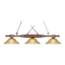 """Elk Lighting - Elk Lighting Gameroom Traditional Kitchen Island / Billiard Light X-6G-DW-491 - This Gameroom traditional kitchen island/billiard light by Landmark Lighting is inspired by the game of pool. It's a fun piece to have in your home, with the crossed cue sticks atop the frame in a wood patina finish and the word """"Billiards"""" across the frame. It also features three amber gratina glass shades. It's a piece no gameroom should be without."""
