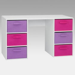 4D Concepts Pastel Student Computer Desk - Pink - It's fun to draw study or do homework at the 4D Concepts Pastel Student Computer Desk - Pink. Perfect for a girl's room! The desk has a vacuum formed surface with gently rolled edges for a neatly finished touch. Durable PVC laminate makes this item a great choice for any child's room; it cleans up easily with a dry non-abrasive cloth. Keep your paper pens toys or CDs handy in the large pink and lavender folding canvas drawers. The storage is fun and functional. Drawer baskets rest gently on the shelf and have canvas handles on both sides of the drawer to pull out of the unit or pull out completely to transport to another room in the house. Constructed of wood composite and highly durable PVC laminate. Assembly required.About 4D Concepts4D Concepts is a manufacturer of fine homewares located in California. They specialize in kitchen cabinetry cupboards baker's racks as well as bathroom furniture. Using materials such as metal select woods and premium hinges and hardware their products whether they're entertainment centers or a simple plant stand are designed to endure years of continuous use.