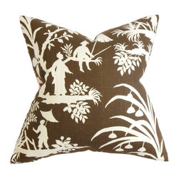 """The Pillow Collection - Liya Floral Pillow Brown 18"""" x 18"""" - Lend an Oriental twist to your living space with this rich hued accent pillow. Featuring a 55% linen and 45% rayon blend construction, this throw pillow adds comfort and ensures long lasting quality. Scenic detail combines with a foliage pattern and printed on a brown background. This square pillow makes a great statement piece to any of your room. Hidden zipper closure for easy cover removal.  Knife edge finish on all four sides.  Reversible pillow with the same fabric on the back side.  Spot cleaning suggested."""