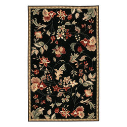 Flor FLO8907 Black Rug - 5'x8' - Flor FLO-8907 Black: Traditional rugs inspired by Persian rugs, Antique Oriental rugs or other traditional area rugs are available now. ModernRugs. om is now also featuring traditional rug designs. Traditional Persian and Oriental rugs from ModernRugs. om are now available in a variety of colors and styles, and complement any space. Our traditional Persian rugs provide an elegant look. These Traditional antique Oriental rugs are timeless and add a touch of class to your home. This Transitional area rug is Hand Hooked in China with 100% Wool. The specific colors of this rug include Black, Tan, Celery, Ivory, Coral, Burgundy Red. he primary color of this rug is black.