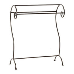 Stone County Ironworks - Waterbury Quilt Rack - Features: -Blanket stand.-Embossed with blacksmith's mark who made it.-Hand made.-Collection: Waterbury.-Distressed: No.-Country of Manufacture: United States.Dimensions: -Overall Product Weight: 25 lbs.