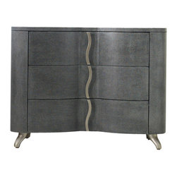 Hooker Furniture - Melange Lana Bedside Chest - White glove, in-home delivery included!  Infused with sexy swagger and modern attitude, the shapely Lana blends feminine curves and masculine menswear appeal.  Three drawers.  Drop in felt-lined top drawer.  Three plug electrical outlet.  Touch light underneath.