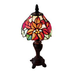 River of Goods - Stained Glass 12.5 Inch High Poinsetta Holiday Accent Lamp - Ideal accent lamp as a gift to that special someone or for any living space. The shade is designed with vibrant red poinsettia flowers that are complemented by accents of green and yellow glass.  Requires one 7W bulb (not included). UL approved.  2 prong plug.