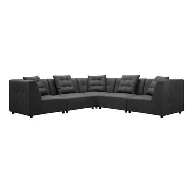 TOV Furniture - Earl Modular Sectional Sofa - Modular design of this modern sectional sofa allows to arrange pieces and form different variations according your desire. Each piece from Earl collection is handmade of kiln dried wood with solid Birch wood legs. Also includes matching accent pillows.
