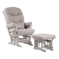 Dutailier - Sleigh glider-multiposition, recline and nursing ottoman combo - gray - Dutailier's exclusive gliding system with top quality sealed ball bearings. Multiposition mechanism allows to stop the glider at the desired position. Great reclining mechanism allows backrest to be fully adjustable. Hardwood frame in white finish. Matching nursing ottoman included. Glider: 27 in. x 31 x 42.5 in.. Ottoman: 20 in. x 18 in. x 14.75 in.Ideal for nursing or simply relaxing, this Sleigh glider and nursing ottoman combo offers an exceptionally smooth and extra long glide motion with thick cushions and padded arms that will add class and elegance to your decor. The multiposition mechanism locks the glider in 6 different positions and makes it easier to sit in or step out of the glider. In addition, it features a reclining mechanism to maximize your comfort. Use the retractable footrest of the nursing ottoman for an optimal nursing position. There are no sharp edges, the finish is toxic free and this product meets all safety standards.
