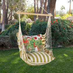 Magnolia Casual Hammocks - Magnolia Casual Geranium Hammock Chair & Pillow Set Multicolor - SPRG-SP - Shop for Hammocks from Hayneedle.com! Nothing encourages you to relax and soak in the summer sunshine more than the Magnolia Casual Geranium Hammock Chair & Pillow Set. The weather- fade- and-mildew-resistant 100% polyester Sundure fabric has the luxurious feel of cotton making this single-layered hammock more breathable than quilted hammocks. It comes with a matching seat pillow and a coordinating back pillow to envelop you in sheer comfort - the likes of which you've never experienced before! A matching tote bag makes it super easy to carry this hammock with you when you go on vacations. With gold-and-white stripes the seat pillow matches the rest of the chair while the brightly colored geranium motif on the back pillow adds to its fun casual look. Hanging hardware is not included as there are many ways and places to enjoy this chair. A pamphlet with suggestions and instructions is included. When it comes to relaxing and unwinding in style you can't go wrong with this cool and comfy hammock chair! Additional features: Weight capacity: 250 lbs. Spreader bar width: 33 inches Approximate height from seat to top of ring is 4 feet Seat pillow measures 18L x 18W inches Back pillow measures 24L x 19W inches Tote measures 16L x 24 W inches (not including the straps) Wood spreader bar is attached to 100% polyester rope Pillow insert is 100% polyester Indoor/outdoor is weather-resistant fade-resistant and mildew-resistant Zipper closure on pillow for easy cover removal Pillow covers are machine washable About Magnolia CasualMagnolia Casual sweeps you off your feet and into the relaxation zone by offering a wide variety of hammocks and swings along with complementary comfortable pillows manufactured from fade- and mildew-resistant polyester that holds up well to outdoor use. Based in Pascagoula Miss. Magnolia Casual's Sundure Fabrics are colorful and the hammocks and swings 