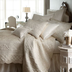 """Amity Home - Amity Home Tudor Queen Quilt, Approx. 90""""W x 95""""L - Linen, satin, washed velvet, and more comprise French Laundry Home's Aimee collection. Made of linen, cotton, polyester, and viscose. Select Natural or Cream when ordering. Duvet covers are linen with 3"""" linen ruffle. Linen shams have 1"""" linen ruffle..."""