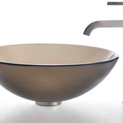 Kraus - Frosted Brown Glass Vessel Sink and Ramus Faucet (Satin Nickel) - Finish: Satin Nickel