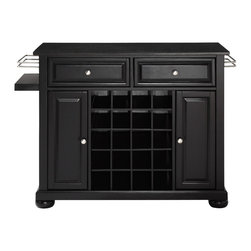Crosley - Alexandria Solid Black Granite Black Top Wine Island in Black - Wine lovers will entertain in style with Crosley's Kitchen Wine Cart. Whether you're a connoisseur of fine wines or simply a casual fan, Crosley's Kitchen Wine Cart offers the utmost in entertaining convenience. The cabinet features a 20-bottle wine rack and side mounted 3-bottle wine valet and the top provides ample surface space for presentation of your wine and cheese alike. Raised panel doors conceal the adjustable inner shelving and two sliding drawers provide several options for storage. Wine cabinets come in one of four signature Crosley finishes featuring one of four surfaces - including wood, stainless steel or solid granite.