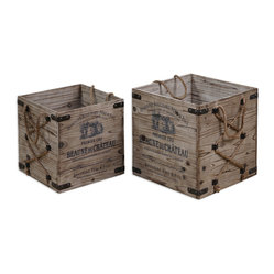 Uttermost - Bouchard Crates, Set of 2 - Use these cleverly crafted crates to store everything from books to blankets. Rustic and charming, they're finished with wrought-iron details and hemp rope.