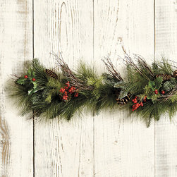 Ballard Designs - Mixed Pine & Berry Garland - Realistic without the mess of needles. Hand-crafted. Our Mixed Pine & Berry Wreath is a perennial customer favorite and this year, it's better than ever. We've added more bright red berries and branches to the mix of pine, holly and real pinecones for an even lusher, fuller look.Mixed Pine & Berry Garland features: . .