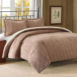 Premier Comfort - Premier Comfort Brushed Long Fur Down Alt Comforter Mini Set - Sleep in luxury and style with the Brushed Long Fur Down Alternative Comforter Mini set. The comforter and sham features brushed long fur in a stylish chevron pattern to provide texture and dimension. It reverses to solid flat fur. The comforter is filled with down alternative to provide extra warmth and comfort. Comforter: 280gsm brushed long fur solid face, 220gsm flat long fur solid back, knife edge, 6D fiber fill-35oz , bar tack, Sham: 280gsm brushed long fur solid face, 220gsm flat long fur solid back, knife edge, overlap at back