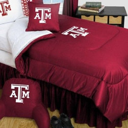 Sports Coverage - Texas A & M Aggies Bedding - NCAA Comforter and Sheet Set Combo - Twin - This is a great University of Texas A & M Aggies NCAA Bedding Comforter and Sheet set combination!. Buy the Microfiber Sheet set with the Comforter and save off our already discounted prices. Comforter is made from 100% Polyester Jersey Mesh - just like what the players wear. The fill is 100% Polyester batting for warmth and comfort. Authentic team colors and logo screen printed in the center. Soft but durable. Machine washable in cold water. Tumble dry in low heat. Microfiber Sheet Set have an ultra-fine peach weave that is softer and more comfortable than cotton! This Micro Fiber Sheet Set includes one flat sheet, one fitted sheet and a pillow case. Its brushed silk-like embrace provides good insulation and warmth, yet is breathable. It is wrinkle-resistant, stain-resistant, washes beautifully, and dries quickly. The pillowcase only has a white-on-white print and the officially licensed team name and logo printed in team colors. Made from 92 gsm microfiber for extra stability and soothing texture. Sheet Sets are plain white in color with no team logo.  Includes:  -  Flat Sheet - Twin 66 x 96, Full 81 x 96, Queen 90 x 102.,    - Fitted Sheet - Twin 39 x 75, Full 54 x 75, Queen 60 X 80,    -  Pillow case Standard - 21 x 30,    - Comforter - Twin 66 x 86, Full/Queen 86 x 86,