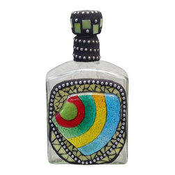 "Mosaic Liquor Bottle ""Aloha"" Up-cycled Decanter - Mosaic on recycled liquor bottle."